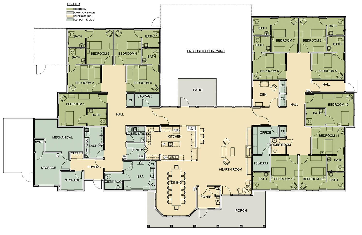 Nursing home floor plan 28 images menu nursing home for Retirement home floor plans